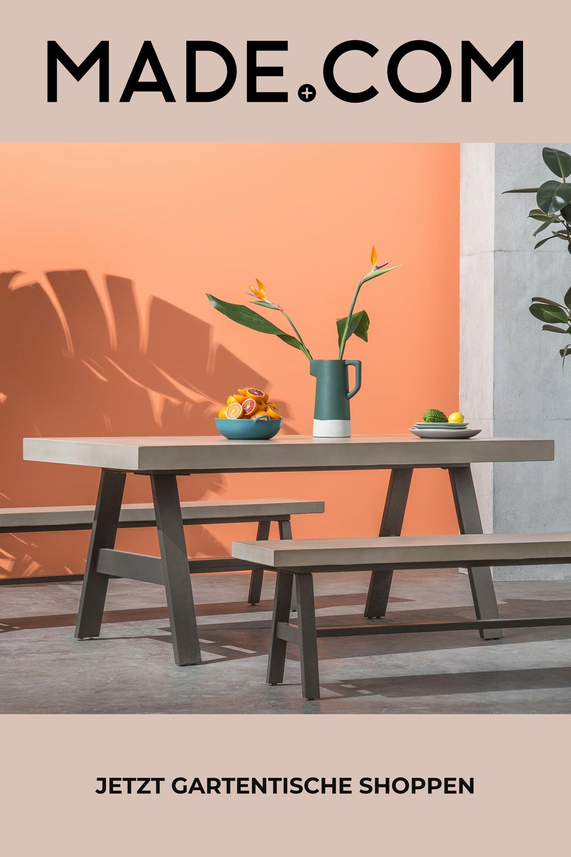 Edson Gartentisch Beton Und Metall In 2021 Gartentisch Garten Tisch
