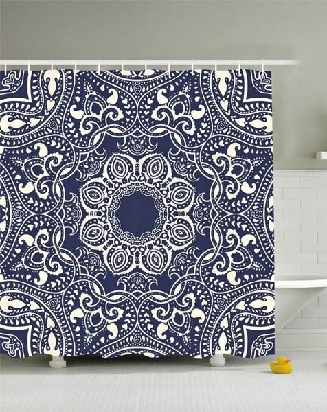 Lotus Flower Mandala Boho Navy Fabric Shower Curtain Fabric Shower Curtains Curtains Boho Shower Curtain