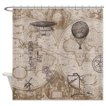 steampunk style shower curtain hot air balloons vintage illustrations gears home decor bathroom world map antique brown beige
