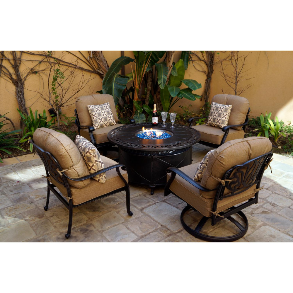 Elisabeth 5 Piece Cast Aluminum Patio Fire Pit Conversation Set By Darlee Bbqguys Fire Pit Chat Set Outdoor Wood Burning Fireplace Patio Furniture Collection Outdoor conversation sets with fire pit