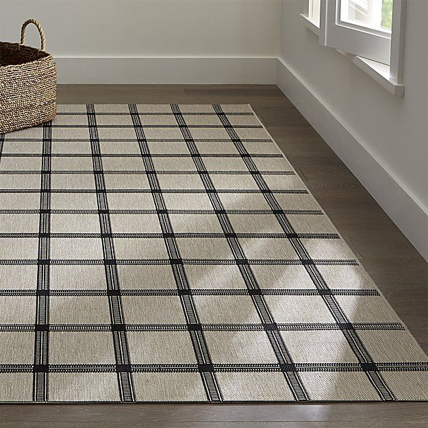 Koen Grid Black Indoor-Outdoor Rug | Crate and Barrel | home decor ...