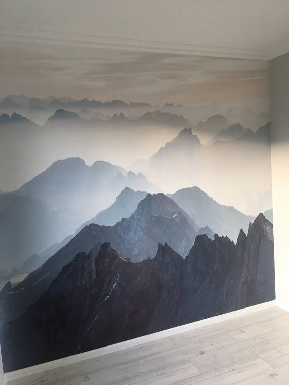 Awesome Custom Listing For Elizabeth Misty Mountain Wallpaper Foggy Mountain Silhouette Wall Mural Romantic Smoky Blue Mama In 2019 Pinterest Wall