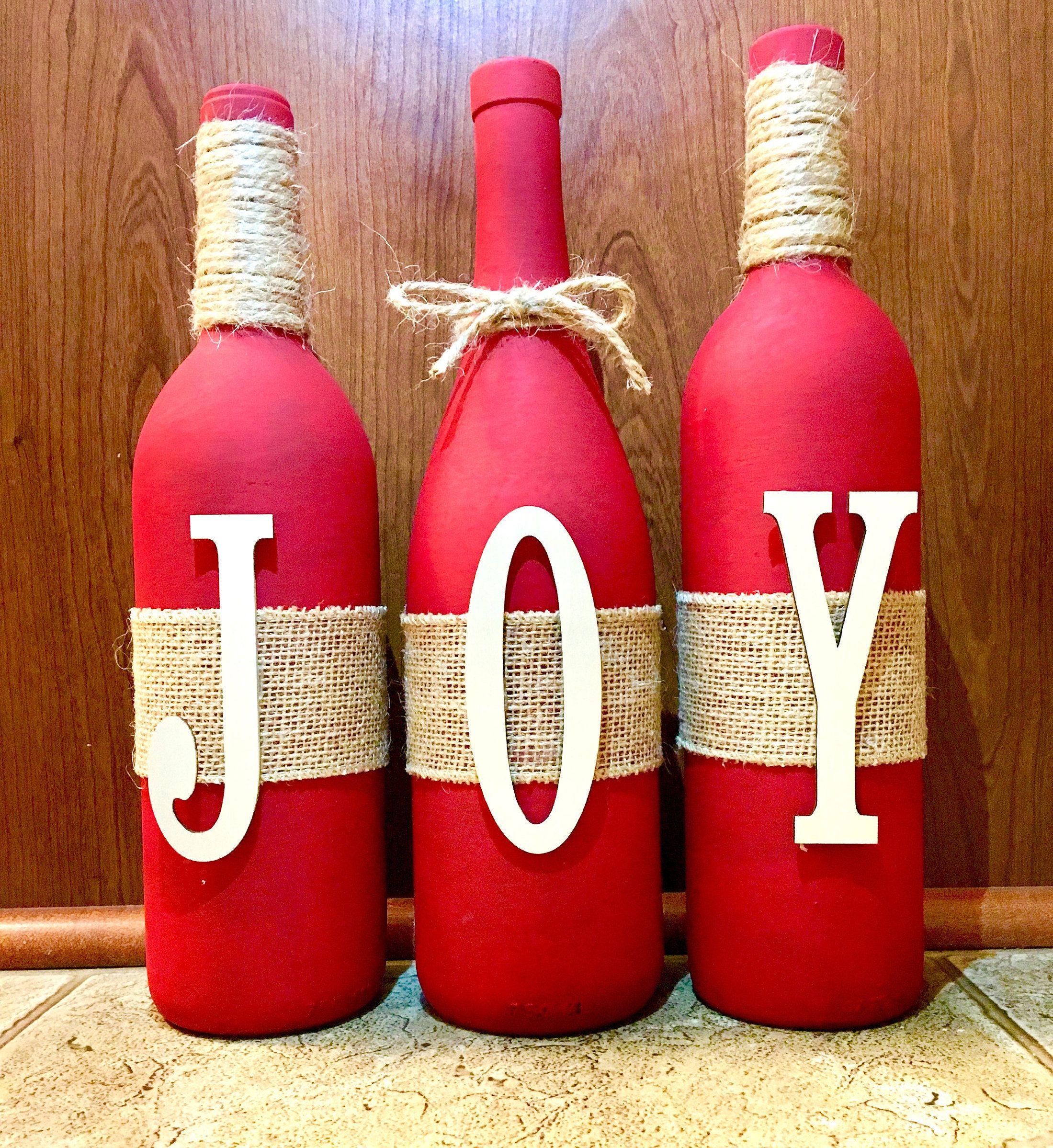 Joy Wine Bottle Set By Basekdesigns On Etsy Wine Bottle Crafts Christmas Christmas Wine Bottles Bottle Crafts