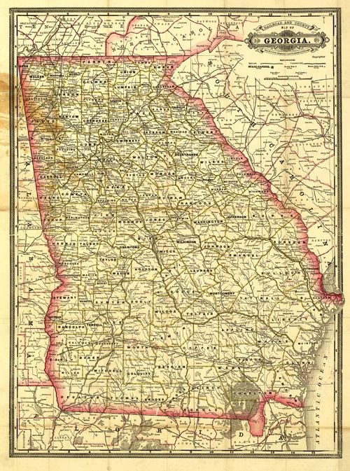 Historic Railroad Map Of Georgia 1883 Railroading Pinterest - Atlanta T Montgomery Rail On Map Of Us