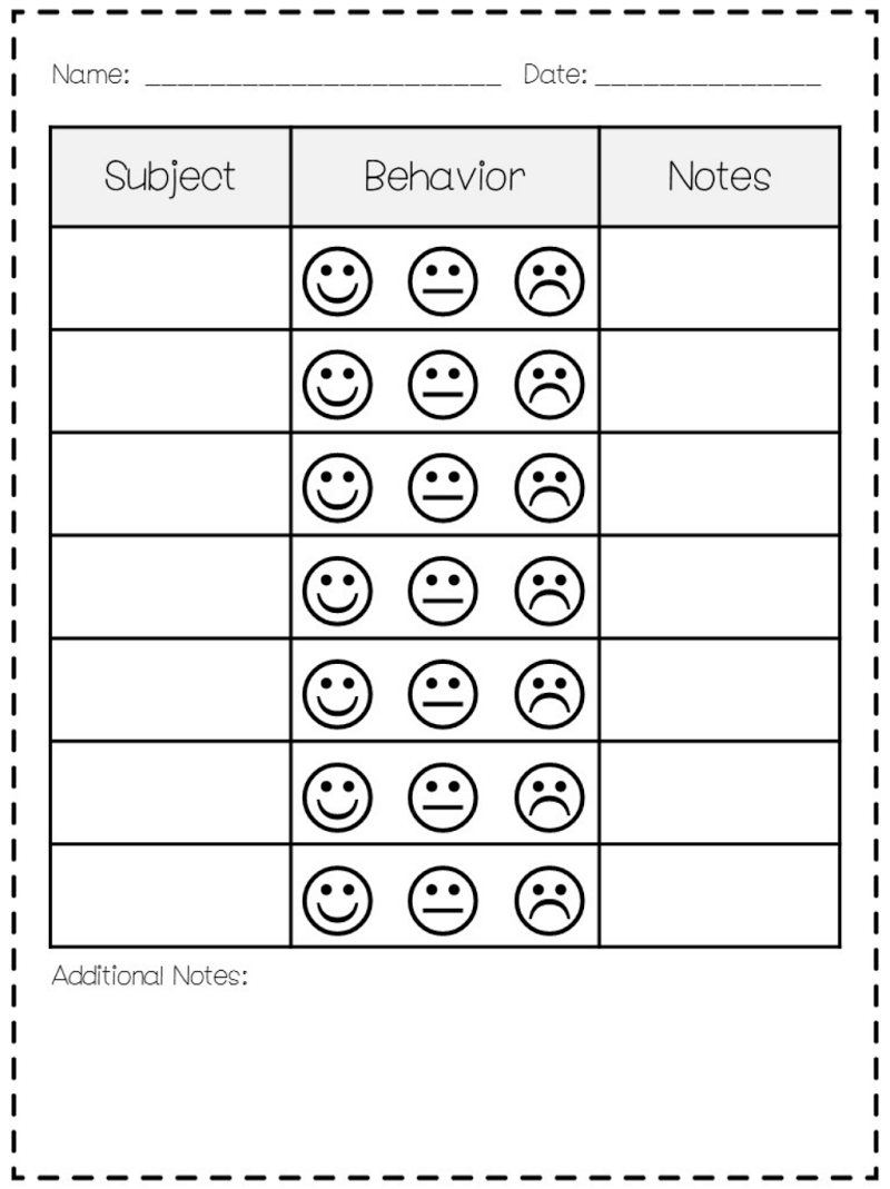 It is a picture of Declarative Printable Behavior Charts for School