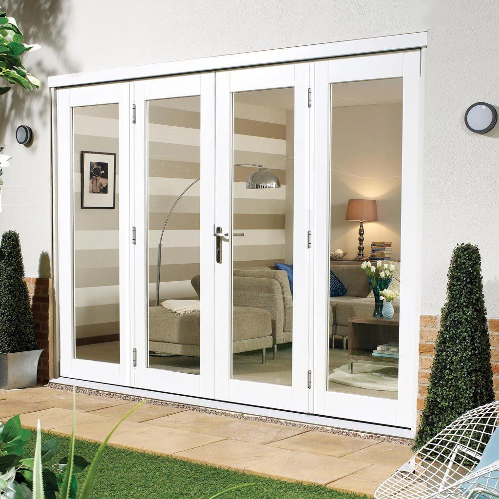 Nuvu White Exterior French Doors With Twin Side Frames Fully Decorated