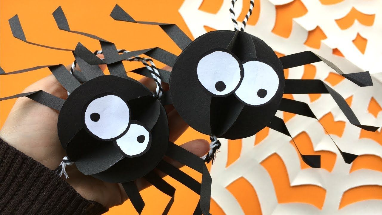 Easy Paper Spider DIY Decor - Halloween Room Decor DIY - collab with - Kids Halloween Decorations