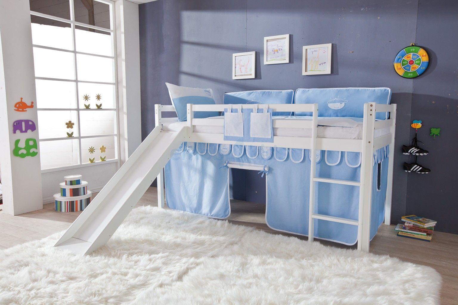 halfhoogslaper met glijbaan toby blauw jongen lit mi hauteur avec toboggan bleu gar on. Black Bedroom Furniture Sets. Home Design Ideas