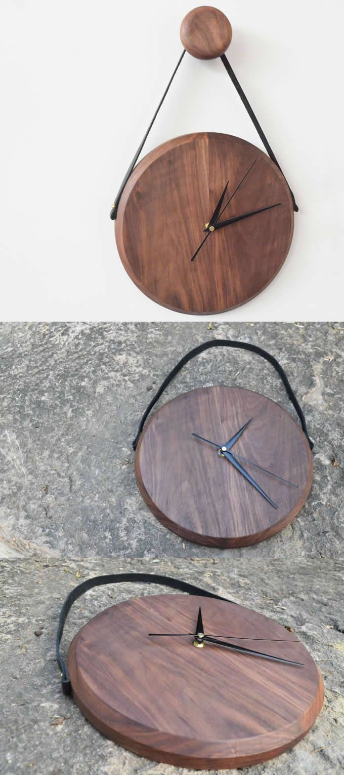 Black Walnut Wooden Wall Clock with Rope Hanger