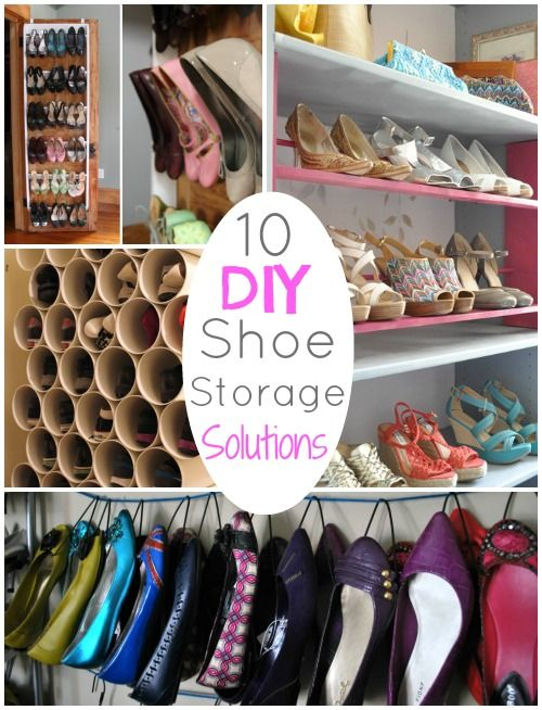 diy round up 10 diy shoe storage solutions diy pinterest rangement astuces et organisation. Black Bedroom Furniture Sets. Home Design Ideas