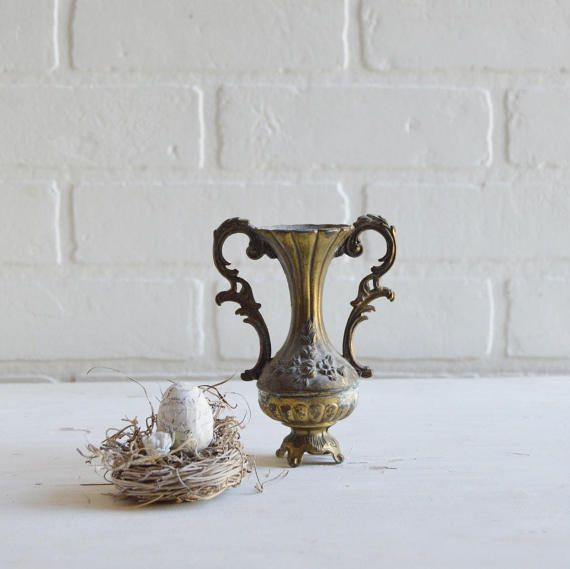 Vintage Brass Vintage Vase Vintage Brass Vase Small Gold Vase