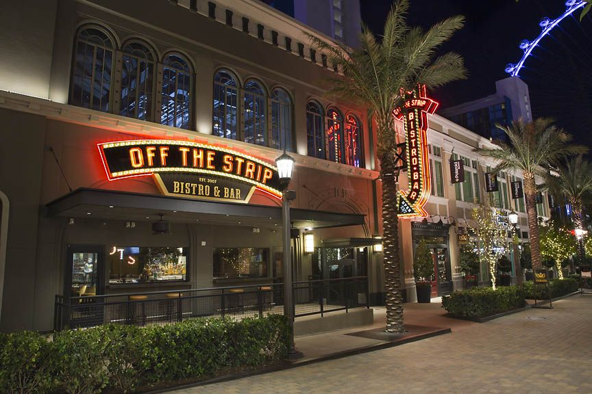 This is the exterior of Off The Strip LINQ with the High