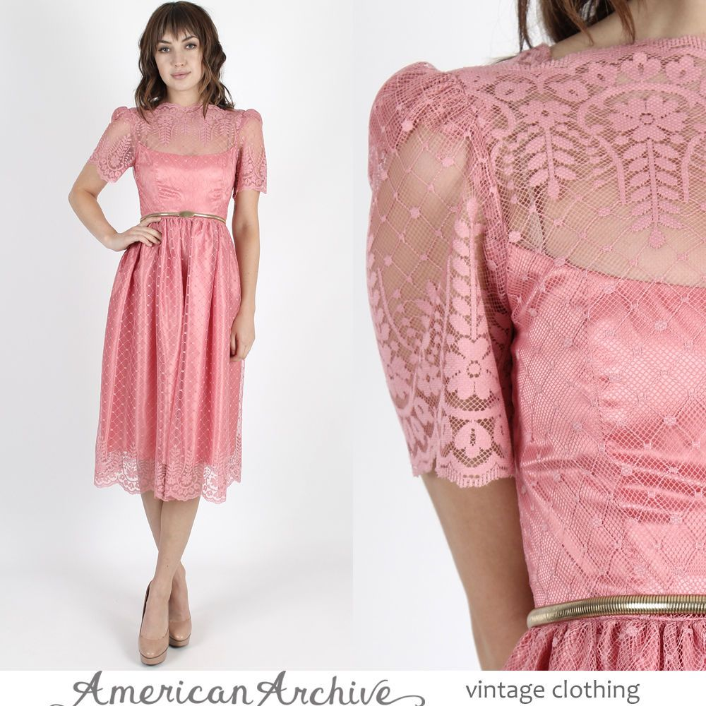 Vintage s boho wedding dress sheer pink floral scallop lace
