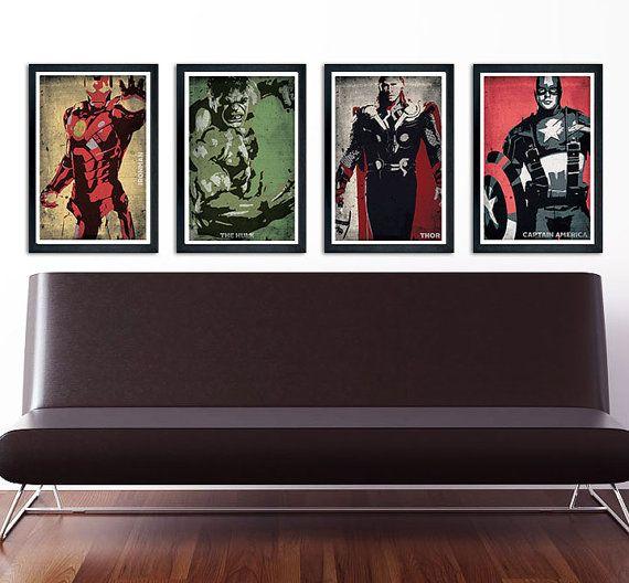 The Avengers Poster Set Of 4 Wall Decor 11 X 17 Ironman Hulk Thor Captain America Avengers Poster Superhero Poster Poster Wall