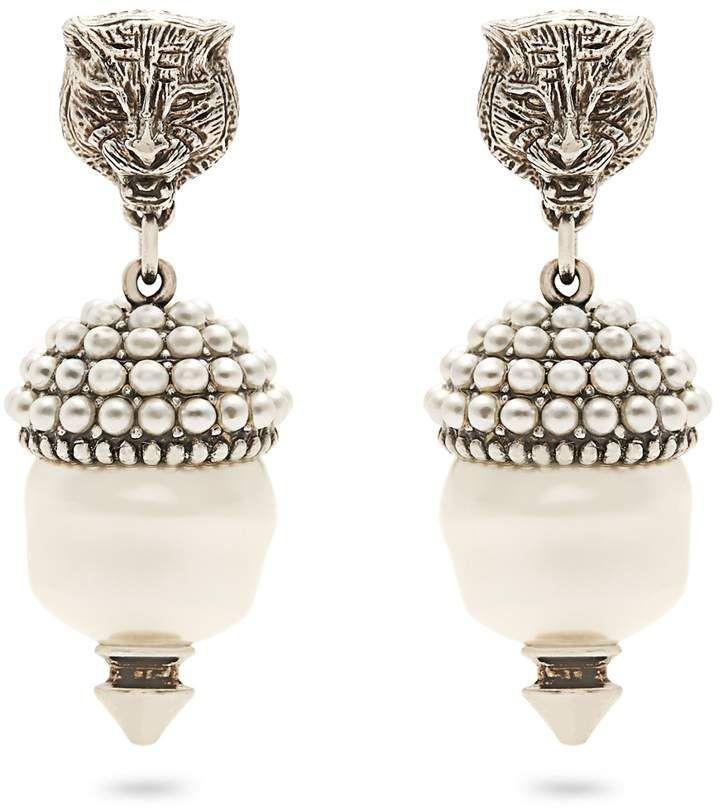 Feline earrings with faux pearls Gucci FJLwXLMl
