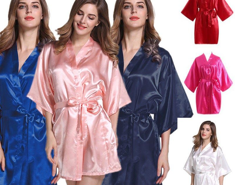 Women Plain Satin Robe Dressing Gown Bridal Wedding Bride Bridesmaid ...