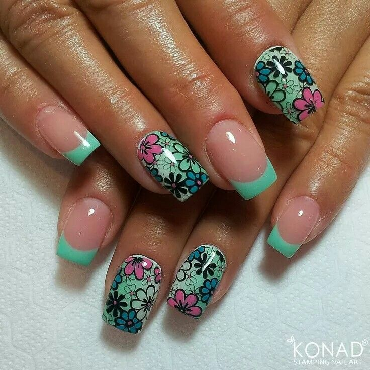 spring green frenchtip floral nailart