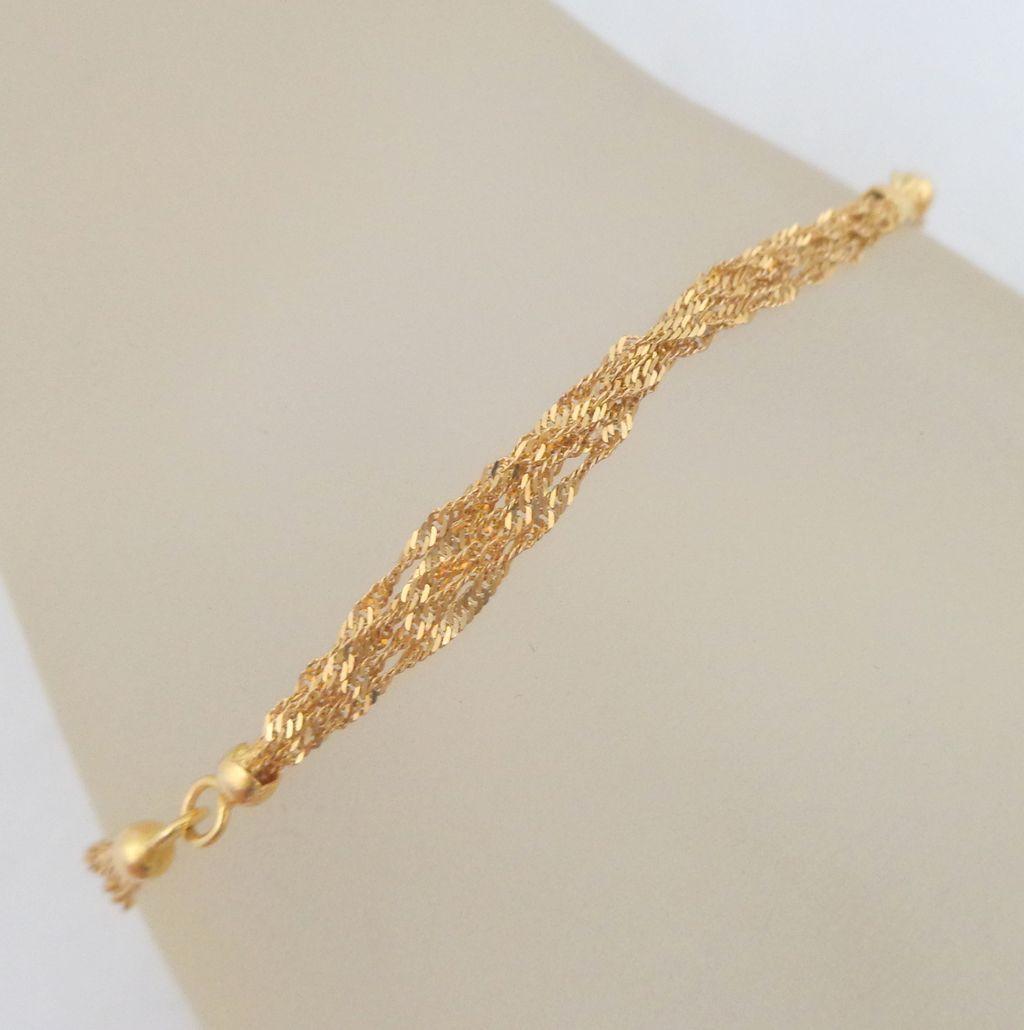 Estate k gold italian strand twisted rope bracelet vintage