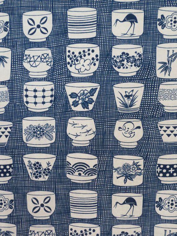Indigo Japanese Tea Cup Print Pure Cotton Fabric