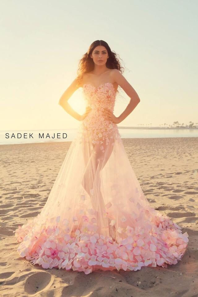f63af231f3f2 Seperate layer transparent pink dress with 3D flowers. Sadek majed couture