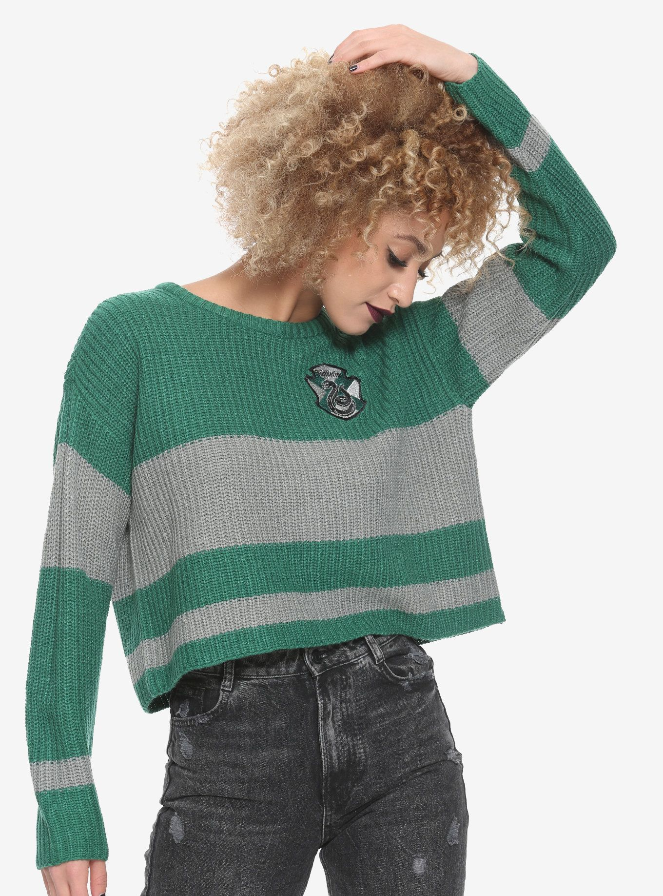 89a128fa8e4 Harry Potter Slytherin Girls Quidditch Sweater in 2019