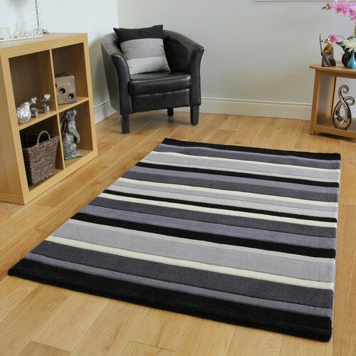17 Stories Harnden Handwoven Wool Charcoal Rug Charcoal Rug Rugs Blue Grey Rug