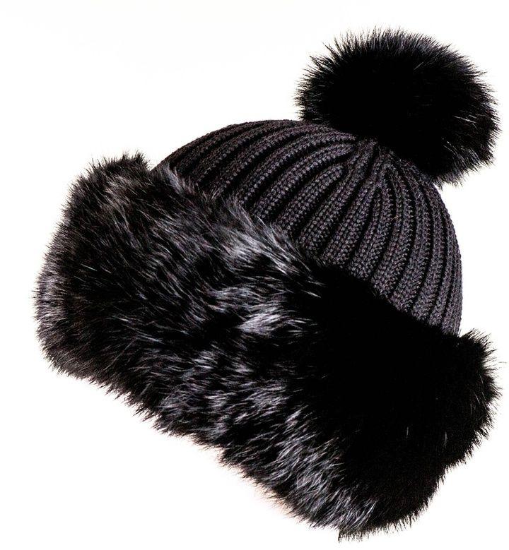 cadf14a03c3 Black Rabbit Fur Bobble Hat on shopstyle.co.uk