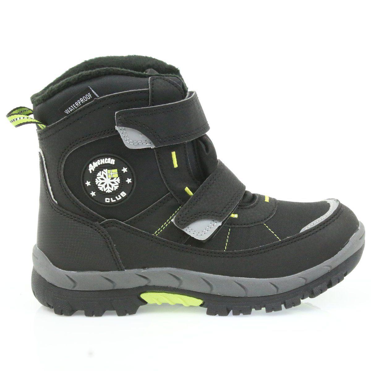American Club American Kozaki Buty Zimowe Z Membrana 1122 Czarne Zielone Boots Winter Boots Childrens Boots