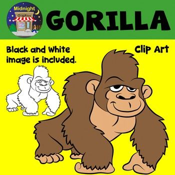 Two High Quality Clip Art Images A Cute Gorilla Together With The Black And White Image Both Gorilla Zoo Animal Images Are Gorilla Zoo Zoo Animals Clip Art