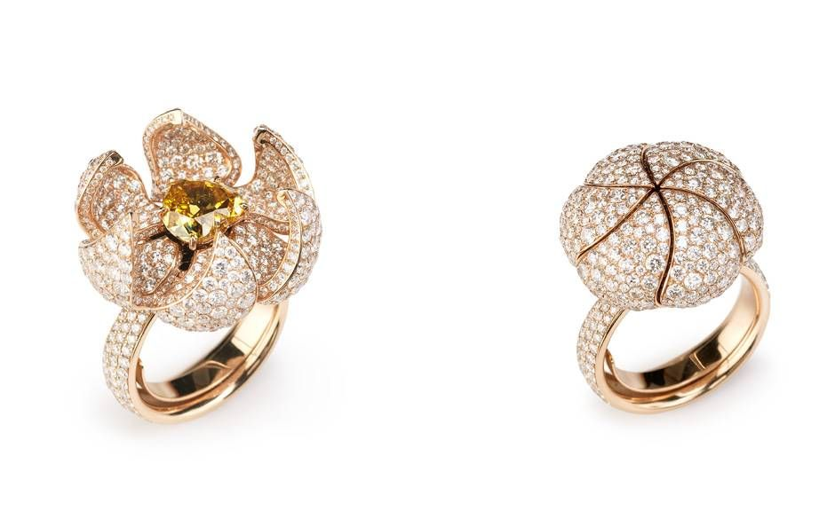 Glenn Spiro's Reveal design can be twisted open or closed. G London Reveal ring in rose gold with diamonds, £POA, Harrods