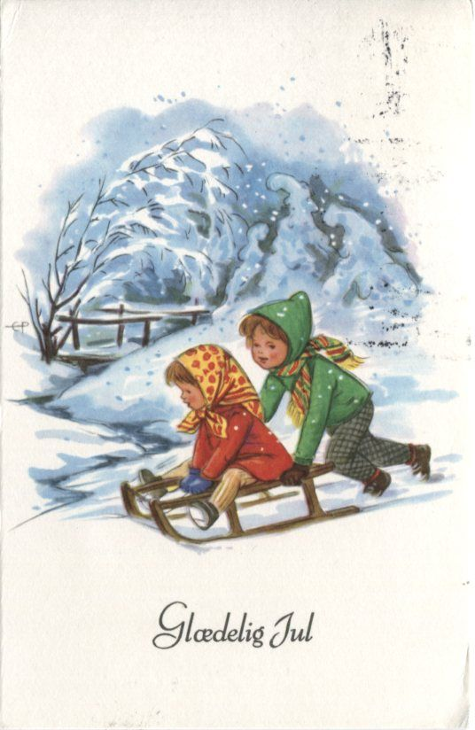 Unknown danish postcard glaedelig jul merry christmas children unknown danish postcard glaedelig jul merry christmas children sledging m4hsunfo