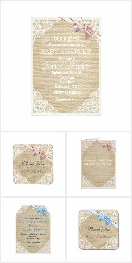 Burlap, Bow & Lace Invitation Collection