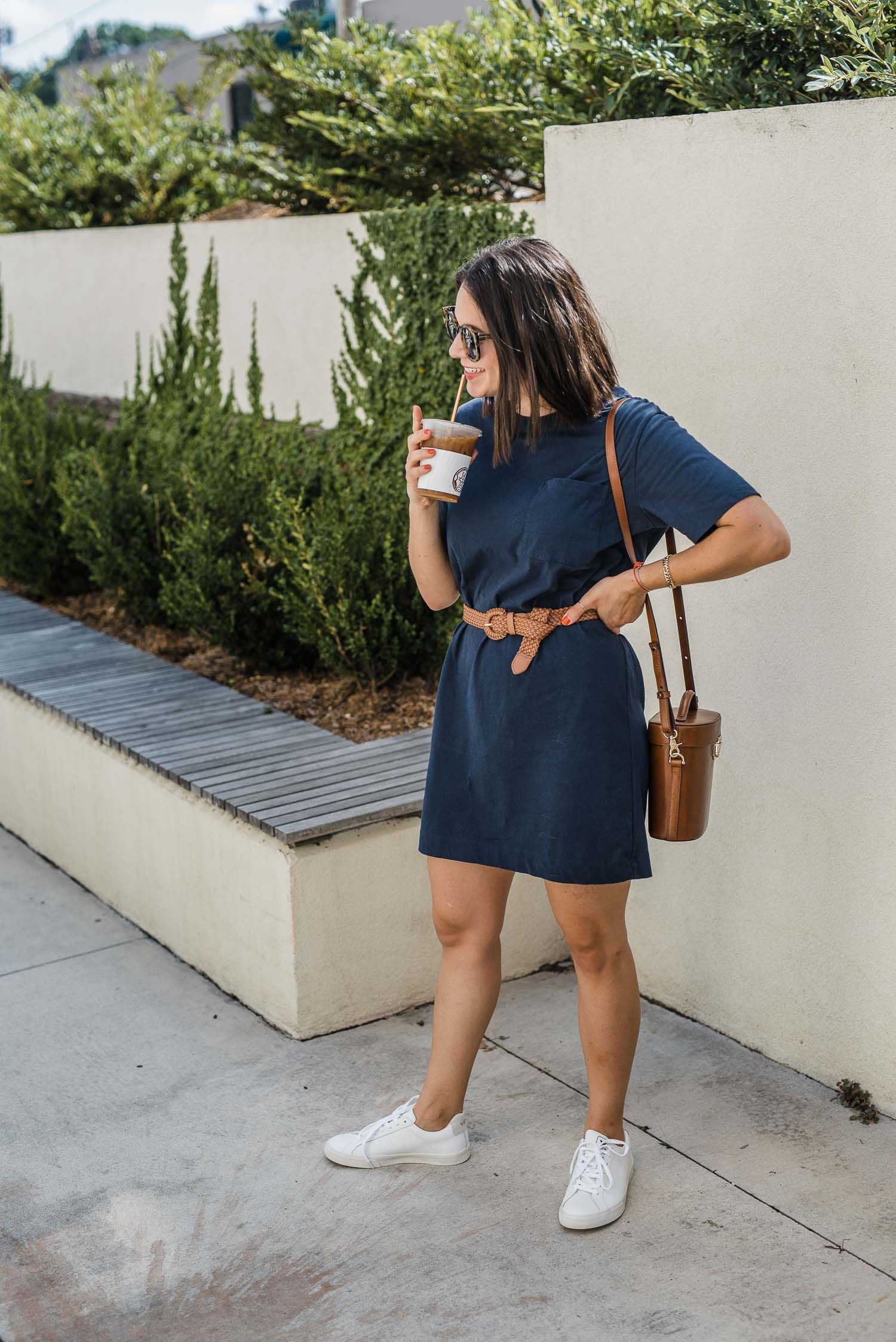 The 30 T Shirt Dress Your Closet Needs Dress And Sneakers Outfit Blue Tshirt Dress Navy Dress Outfits [ 2247 x 1500 Pixel ]