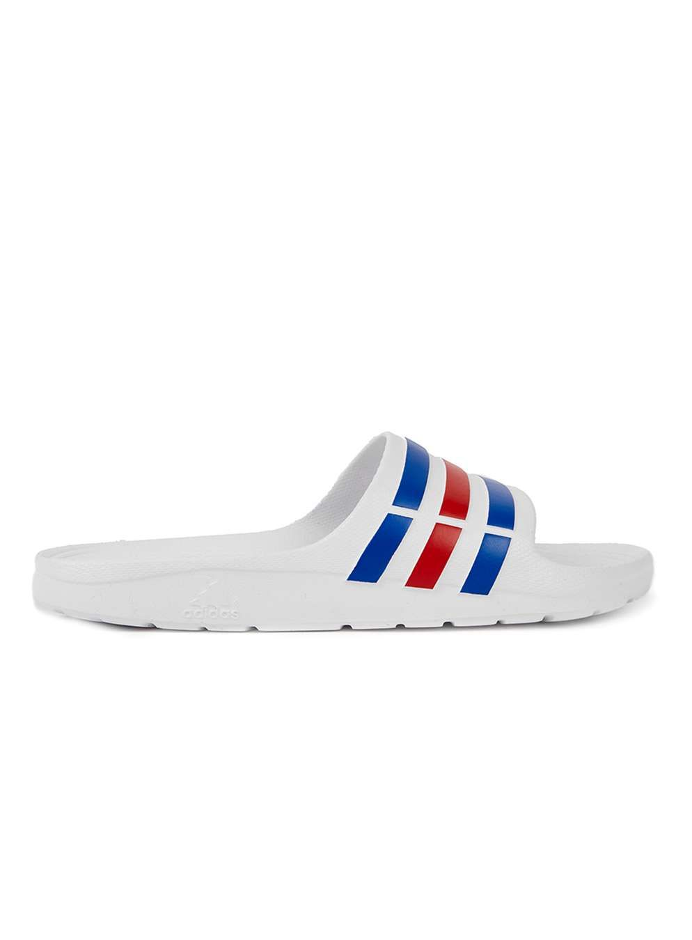 47a813e7c5f Adidas Neo Duramo White, Blue and Red Sliders - Adidas - Brands ...
