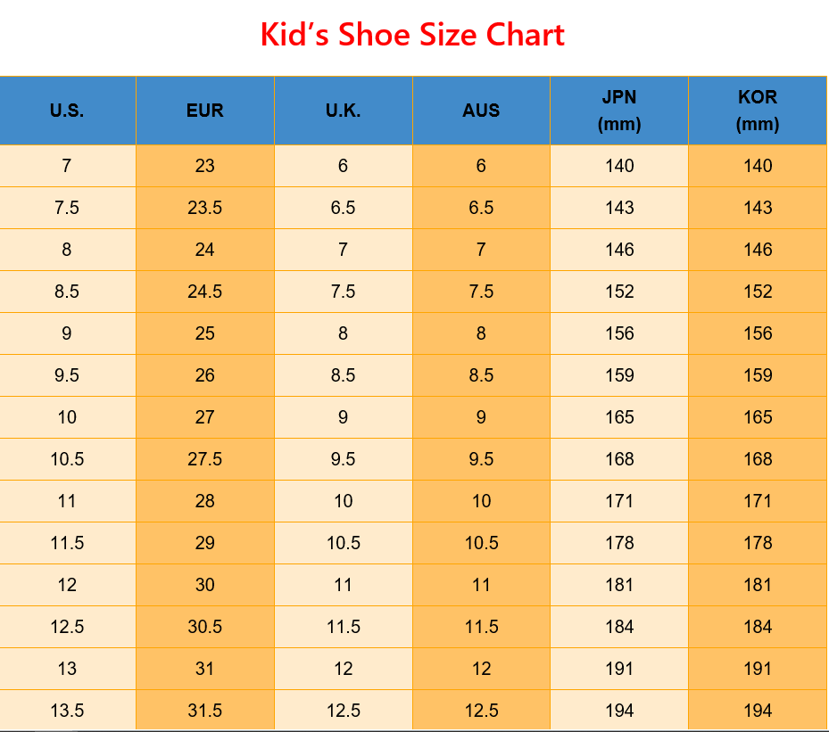 Kids Boys Girls Shoe Size Chart for US EUR UK AUS JP KOR in 2020 | Shoe  size conversion, Shoe size chart, Shoe size chart kids