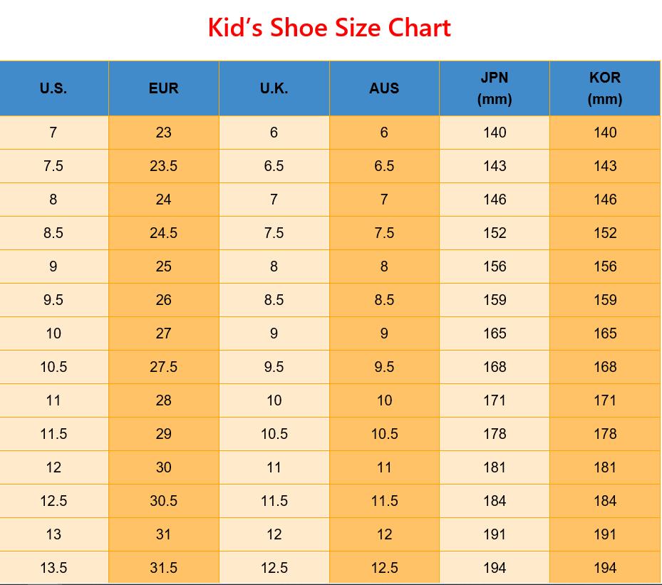 eu shoe size to aus children's