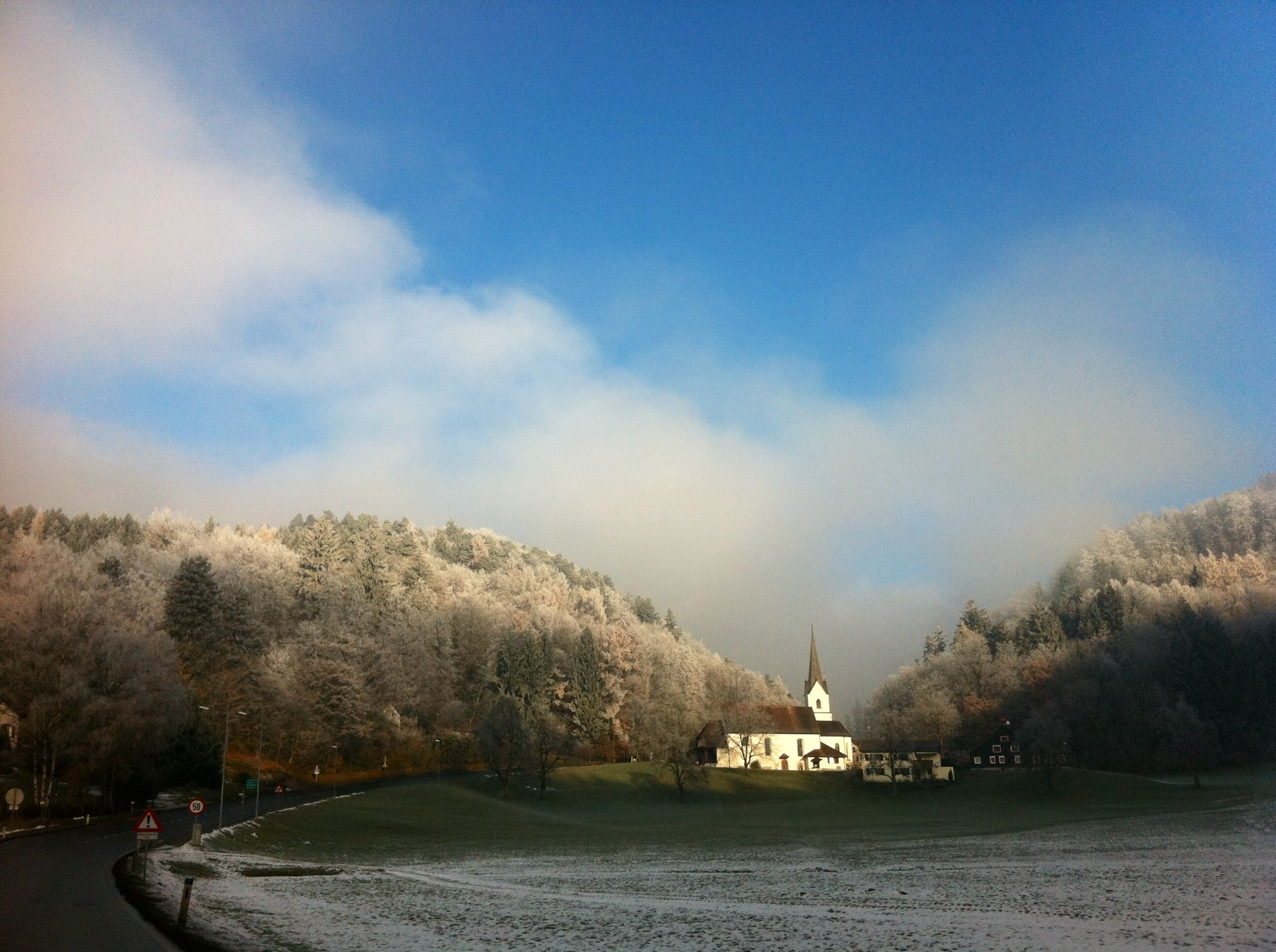 Arbogast Austria frosty morning Country roads, Road, Winter