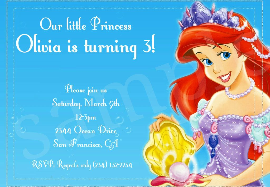 Ariel the little mermaid birthday party invitation digital file ariel the little mermaid birthday party invitation digital file 550 via etsy filmwisefo
