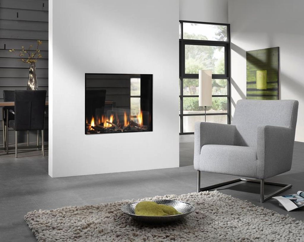 Superb Dual Aspect Fireplace Design In Grey And White Living Room With Gray Sofa Set
