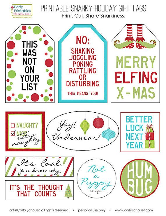 Snarky Christmas Gift Tags Funny Holiday Gift Tags Printable Gift