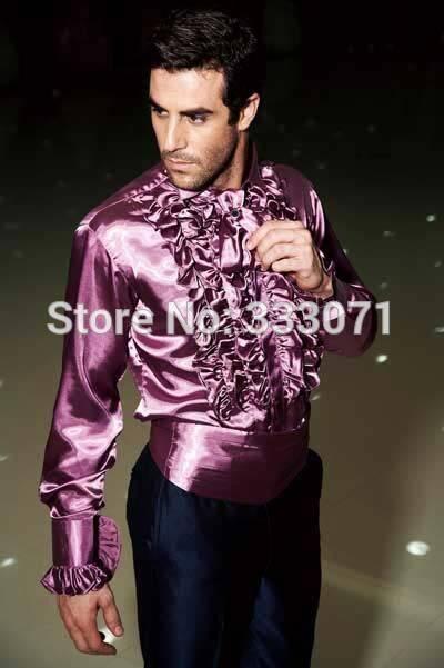 Click To Buy 2017 Purple Blue Ivory Men Shirt Formal Slim Fit