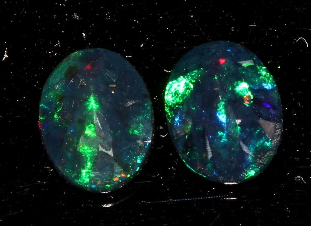 1.16TCW+2PCS NATURAL ETHIOPIAN BLACK OPAL MULTI-FIRE LOOSE GEMSTONE FACETED 7543