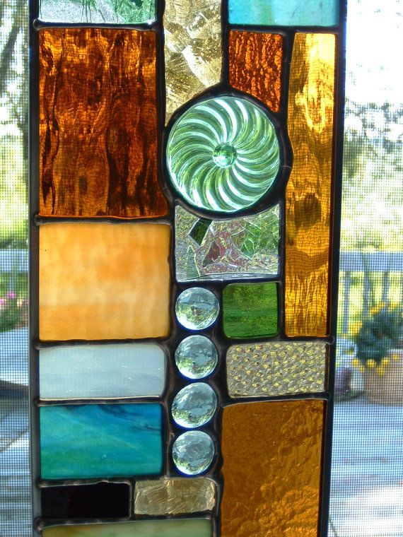 Abstract Green Stained Glass Panel | deco | Pinterest