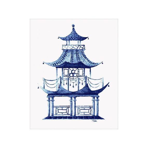 Blue Pagoda Watercolor Art Print Etsy Watercolor Art Prints Art Art Prints