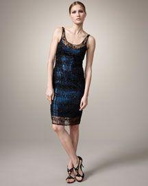 Carmen Marc Valvo Beaded-Overlay Metallic Dress
