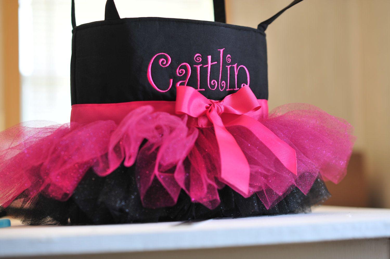 Personalized Pink & Black Tutu Bag. $35.00, via Etsy.
