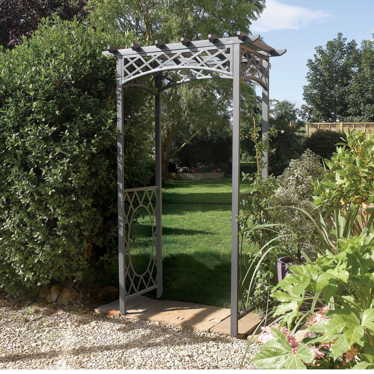 English Garden Steel Latticed Arbor Garden Arches Garden Arch