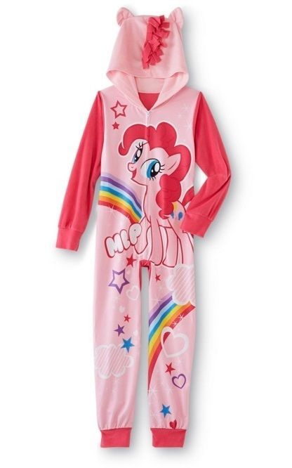 My Little PONY Fleece Hooded Pajamas NeW Girl s 14 16 Zip-Up Warm PINKIE  PIE Pjs  Hasbro  OnePieceHooded 83c3e9ffc