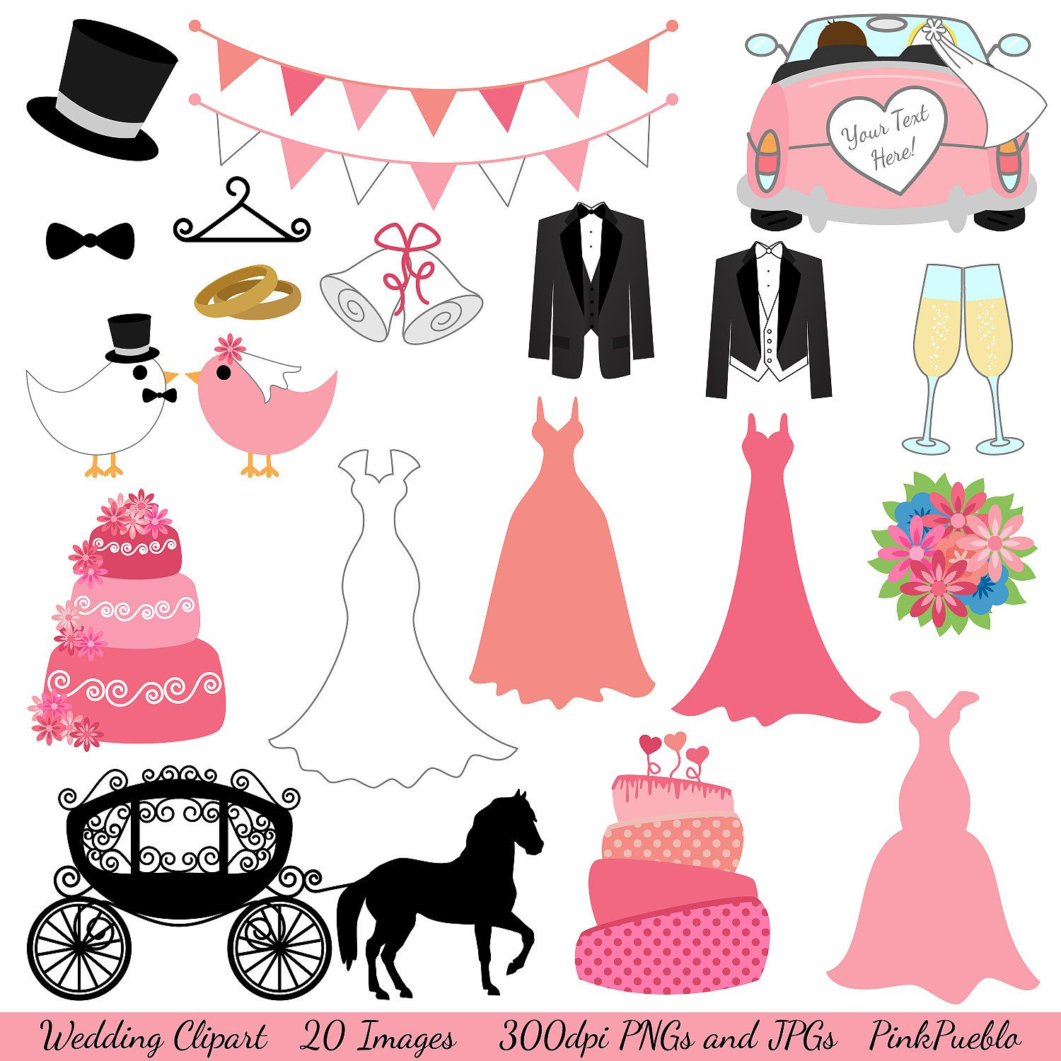Wedding and Bridal Clipart Clip Art with Dresses, Tuxedos, Cake, Carriage - Commercial and Personal Use. $6.00, via Etsy.