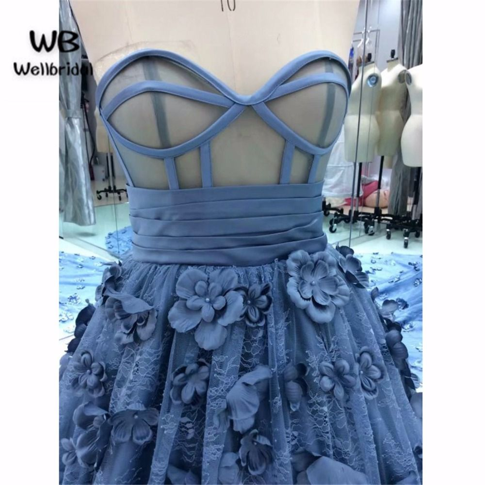 Ball Gown Dark Blue Prom dresses Long with Flowers Sweetheart ...